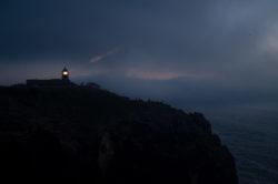 Latarnia morska, zmrok, dawn, Cabo de São Vicente, Sagres, Portugal