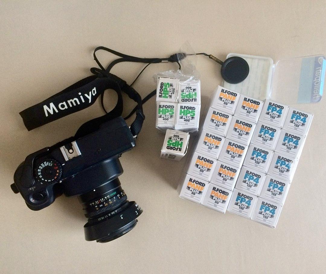 Mamiya 7II, negatywy ILFORD PanF plus, FP4 Plus, HP5 Plus, kant-szkiełko, viewing filter, Heliopan
